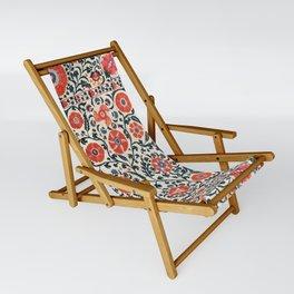 Shakhrisyabz Suzani  Uzbekistan Antique Floral Embroidery Print Sling Chair