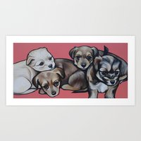 puppies Art Prints featuring Puppies puppies puppies!  by Cheney Beshara