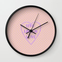 Lavender LIVE LAUGH LOVE Polka Dots Peach Wall Clock