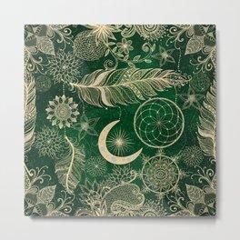 Gold Green Dream Catcher Feathers Mandala Metal Print