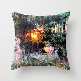 Sunset Forest : Where The Fairies Dwell Throw Pillow