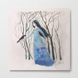 Girl With a Raven Metal Print