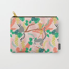 Lemurs in Pink Jungle Carry-All Pouch