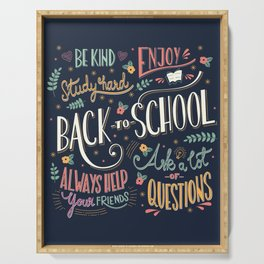 Back to school colorful typography drawing on blackboard with motivational messages, hand lettering Serving Tray