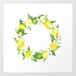 watercolor wreath lemon Art Print