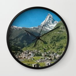 Retro Swiss travel Zermatt and Mount Matterhorn  Wall Clock