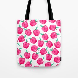 Pink turquoise watercolor apples back to school pattern Tote Bag