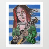 neil young Art Prints featuring Neil Young by Robert E. Richards