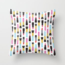 Llipsticks and Makeup Brushes Design | Beauty and make-up accessories Throw Pillow