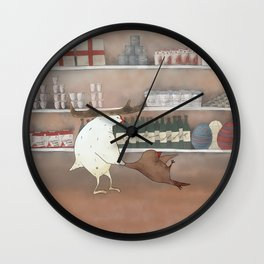 bird shopping Wall Clock