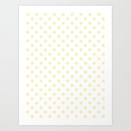 Small Polka Dots - Blond Yellow on White Art Print