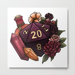 Sorcerer Class D20 - Tabletop Gaming Dice Metal Print
