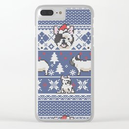 Christmas Frenchie Clear iPhone Case