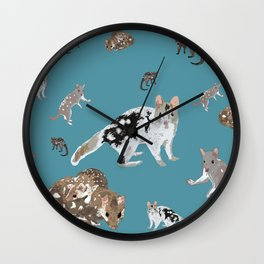 Eastern Quoll (Dasyurus viverrinus) on teale Wall Clock