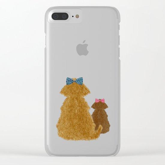 Cute Dogs Winter Scene Clear iPhone Case