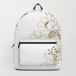 White flowers bouquet Backpack