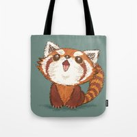 red panda Tote Bags featuring Red panda by Toru Sanogawa