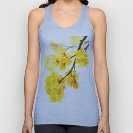 yellow trumpet trees watercolor yellow roble flowers yellow Tabebuia Unisex Tank Top