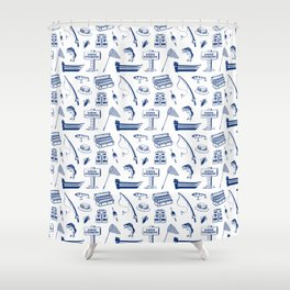 Gone Fishing // Dark Blue Shower Curtain