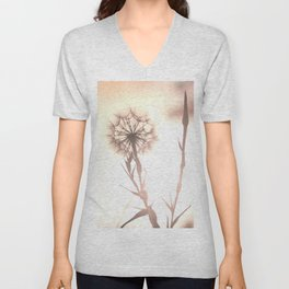 Pink Distant Dandelion Flower - Floral Nature Photography Art and Accessories Unisex V-Neck