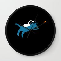 scuba Wall Clocks featuring Scuba Cat by Ripe