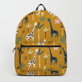 Giraffe Parade on Mustard Yellow Backpack