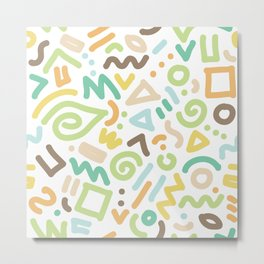 Hand drawn brush pattern lines and curves Metal Print