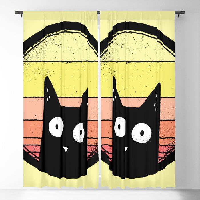 Animals Love Vintage Sunsets - Yellow Blackout Curtain