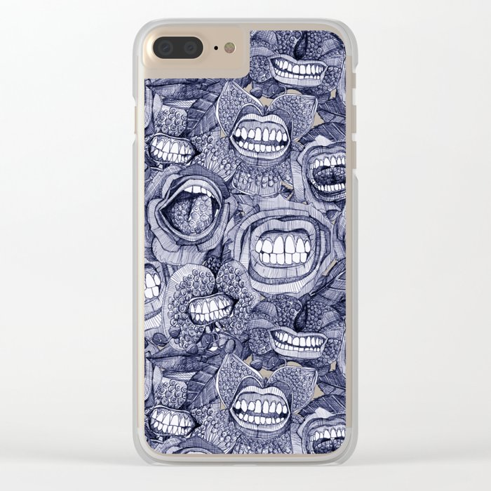 BITE ME roses and orchids INDIGO Clear iPhone Case