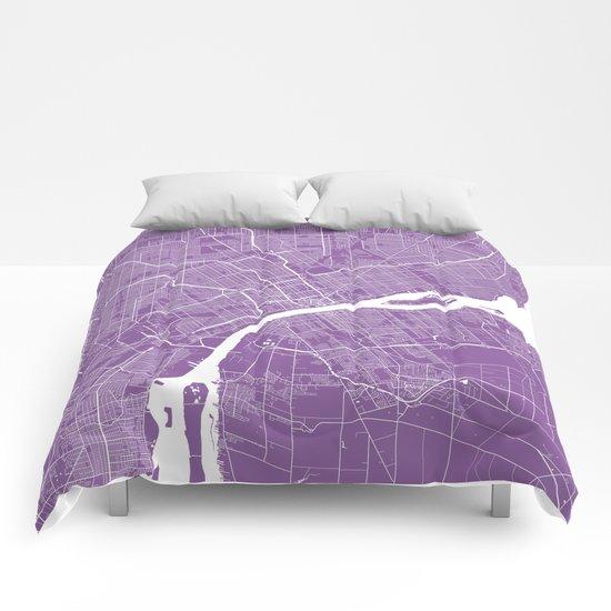 Detroit map lilac Comforters