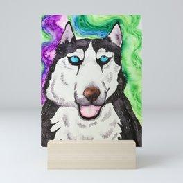 Husky aurora Mini Art Print