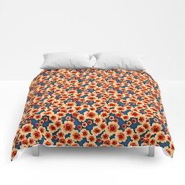 Orange Flowers Comforters
