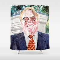 "lebowski Shower Curtains featuring The Big Lebowski ""Brandt"" by Gregory Nordquist"