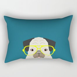 Emerson - Pug with neon Hipster Glasses, Cute Retro Dog, Dog, Husky with Glasses, Funny Dog Rectangular Pillow