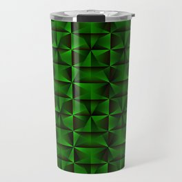 A chaotic mosaic of convex rhombuses with light blue intersecting bright lines and squares. Travel Mug