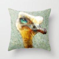 karu kara Throw Pillows featuring abstract ostrich by Ancello