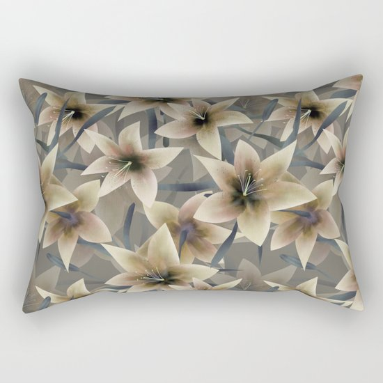 Lily. Grey beige floral pattern . Rectangular Pillow