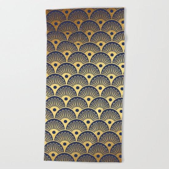 Blue Fan Gold Beach Towel