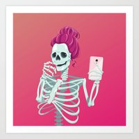 Selfie to the bones Art Print
