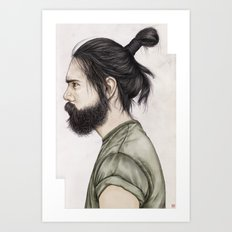 Beard & Top Knot Art Print