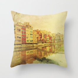 The river that reflects the city Throw Pillow