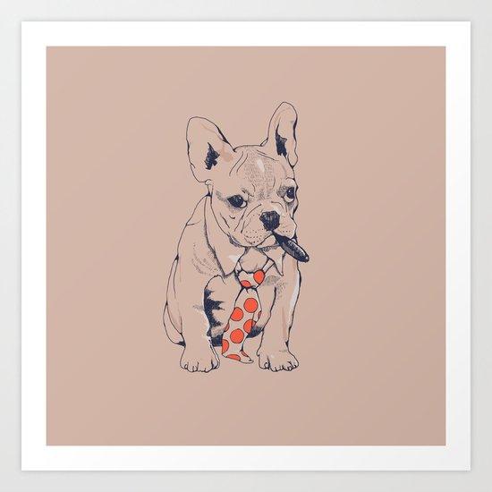 FRENCH BULLDOG BOSS Art Print