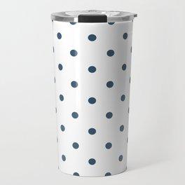 Dusky Blue Small Polka Dots Travel Mug