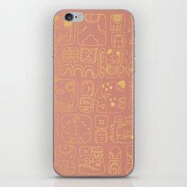 Mayan glyphs - rosegold palette iPhone Skin