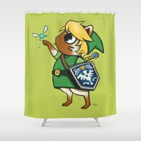 mew Shower Curtains featuring Legend of Mew  by Sarah Baslaim