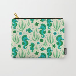 Seahorses (Blue & Green) Carry-All Pouch