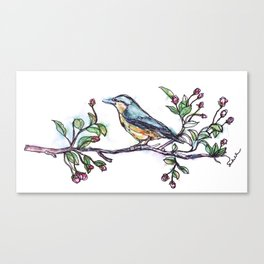 Bird on a Branch (drawn with one, continuous line) Canvas Print