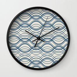 Blue & Linen White Thin Overlapping Horizontal Lines Pattern Pairs To 2020 Color of the Year Wall Clock