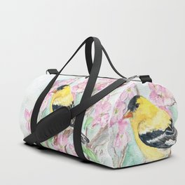 Goldfinch and Dogwood Flowers Duffle Bag