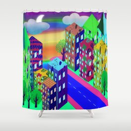 Abstract Urban At Night Shower Curtain